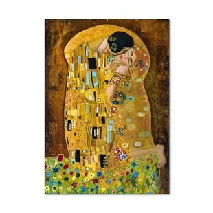 The Kiss by Gustav Klimt Yağlı Boya Dokulu Tablo